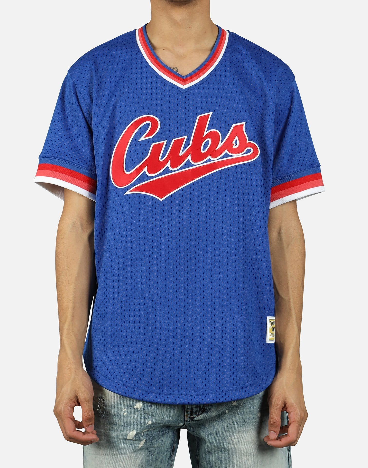 Mitchell & Ness Men's MLB Chicago Cubs Mesh V-Neck Jersey