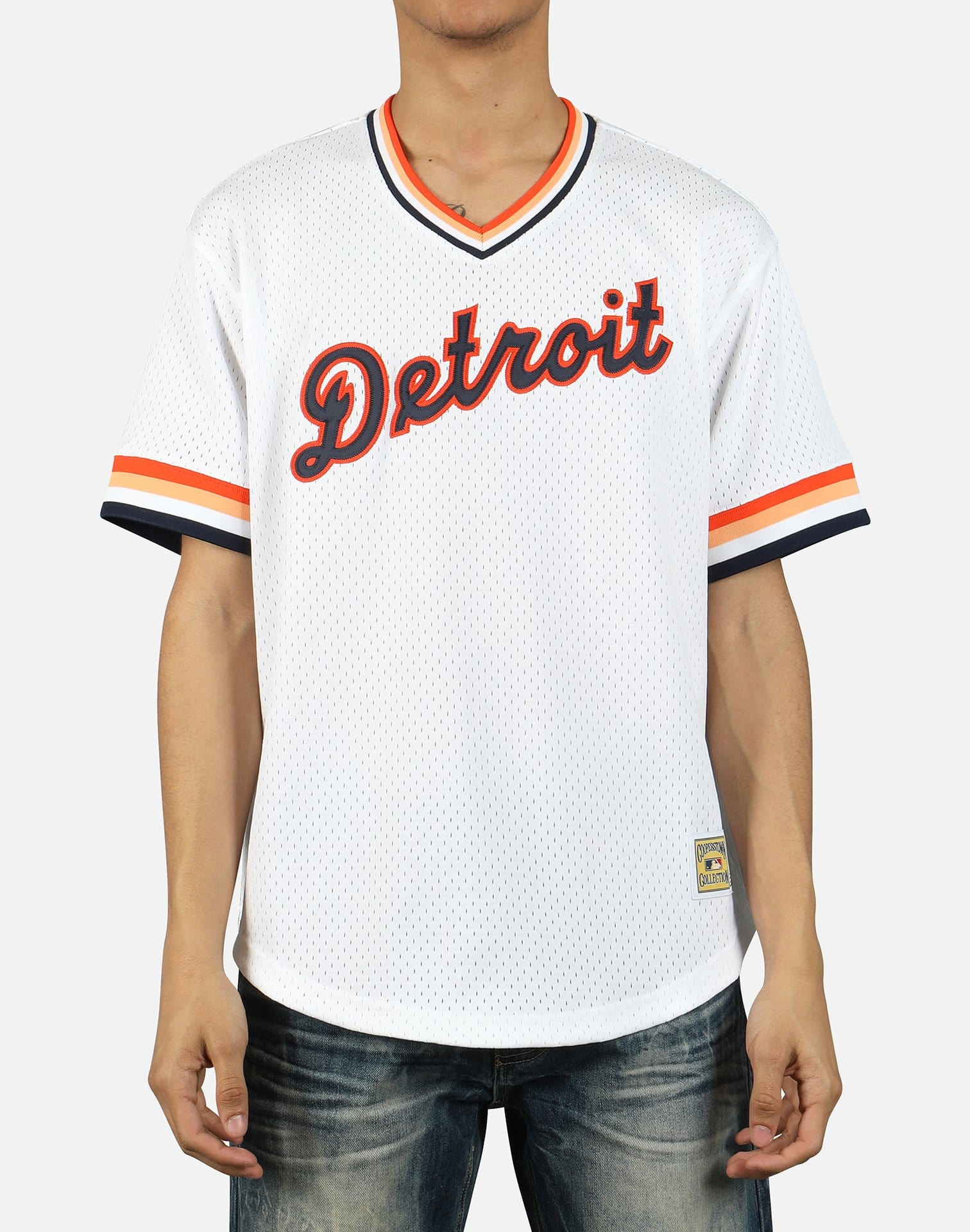 Mitchell & Ness Men's MLB Detroit Tigers Mesh V-Neck Jersey