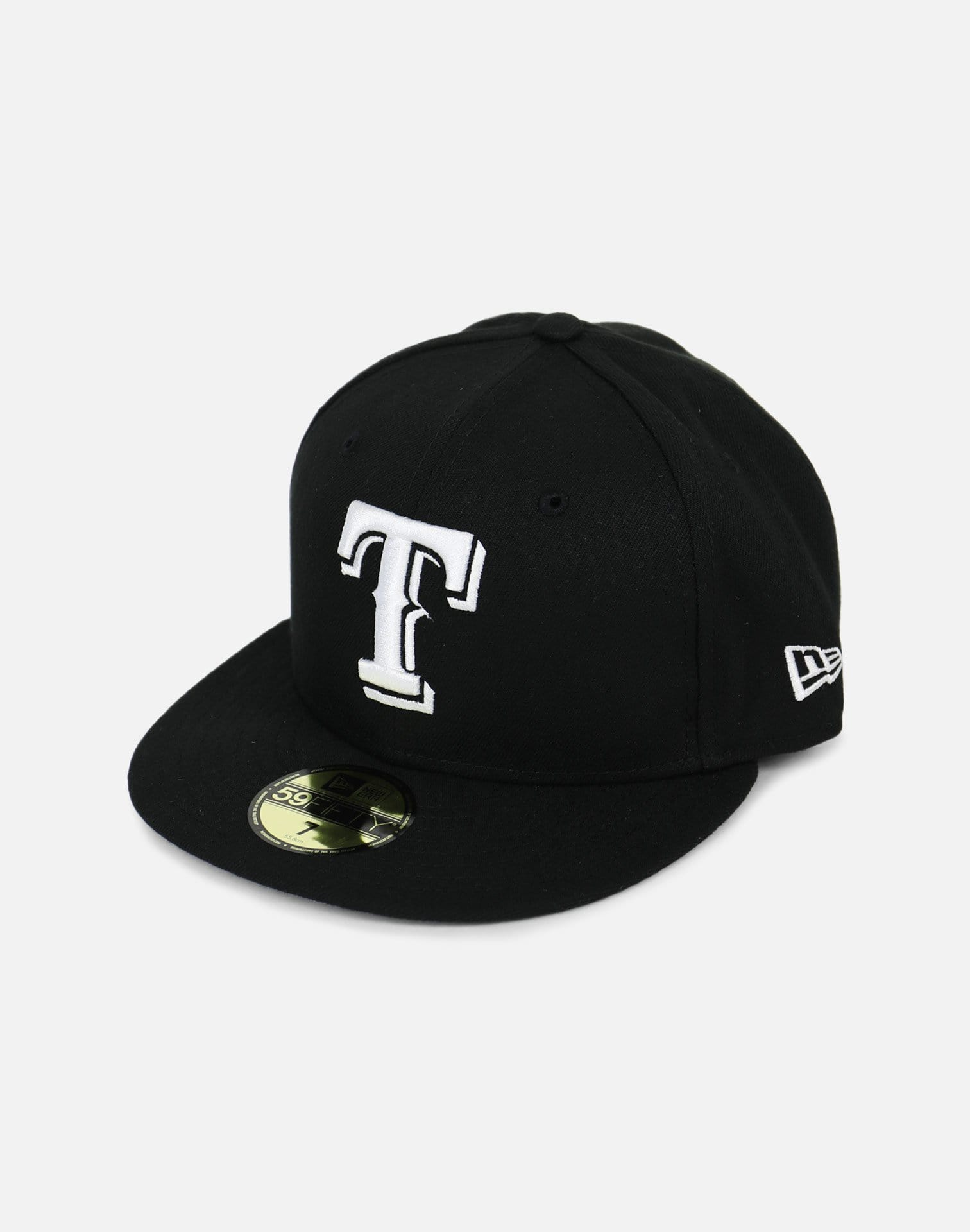 New Era Texas Rangers Black Fitted Hat (Black)