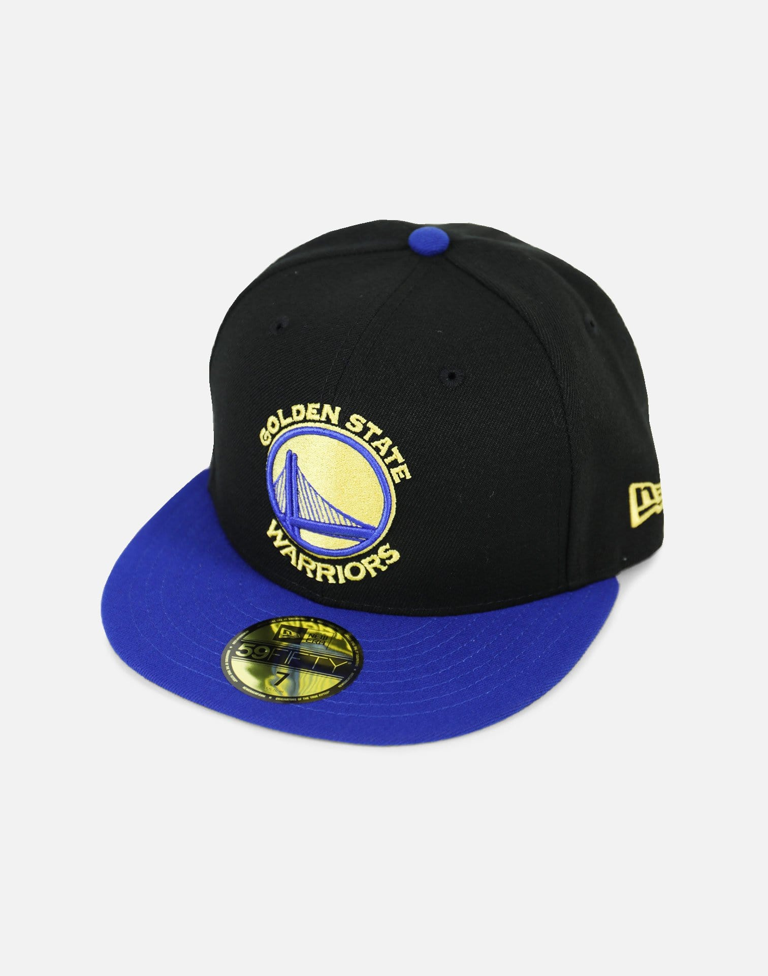 New Era Golden State Warriors Authentic Fitted Hat (Black/Blue)