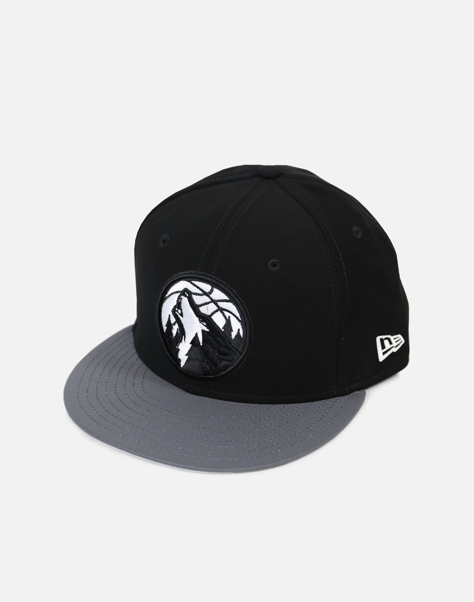 New Era Minnesota Timberwolves Reflective Hook Snapback Hat (Black/Grey)