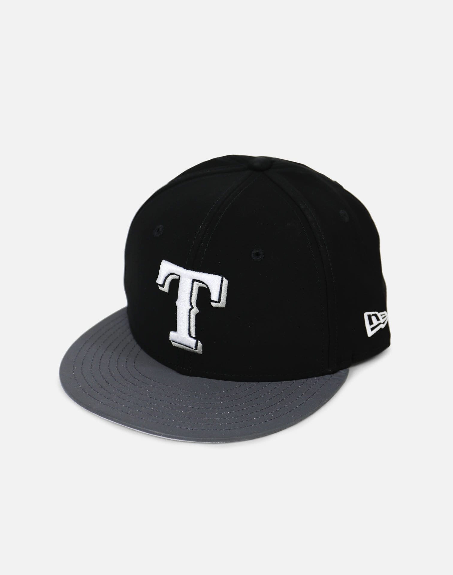 New Era Texas Rangers Reflective Hook Snapback (Black/Grey)