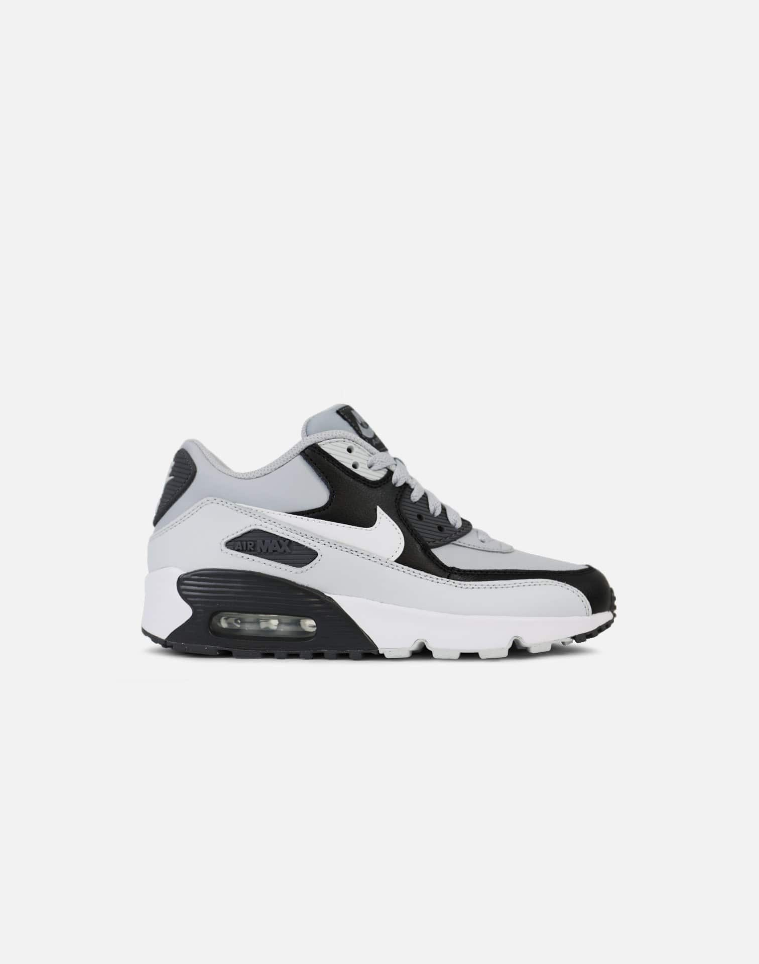 Nike Air Max 90 Leather Grade-School (Grey/White)