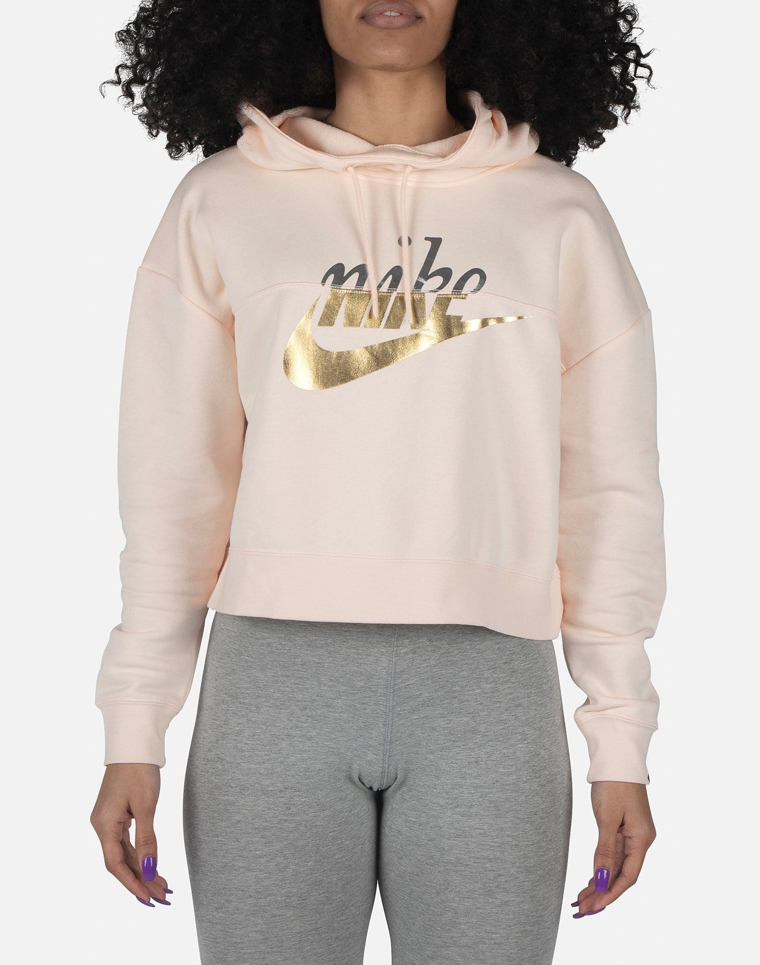 Nike Women's Rally Metallic Clash Crop Hoodie