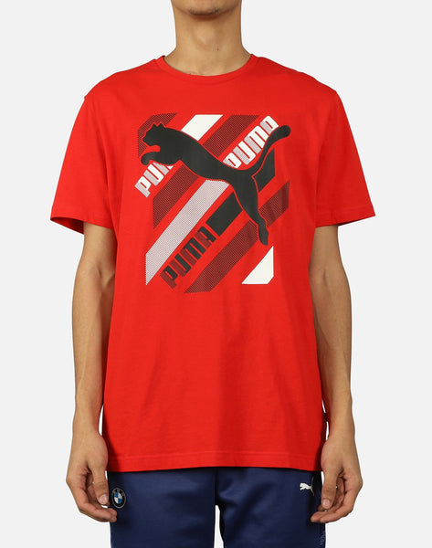 CAT BRAND LOGO DIAGONAL STRIPE TEE