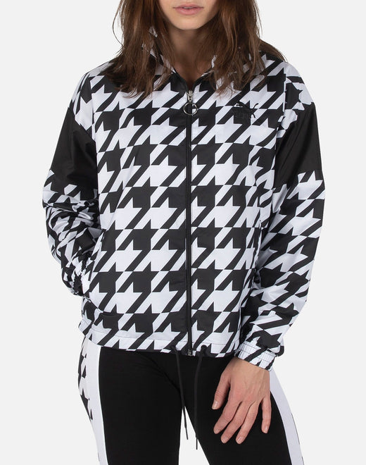 HOUNDSTOOTH GRAPHIC WOVEN TRACK JACKET