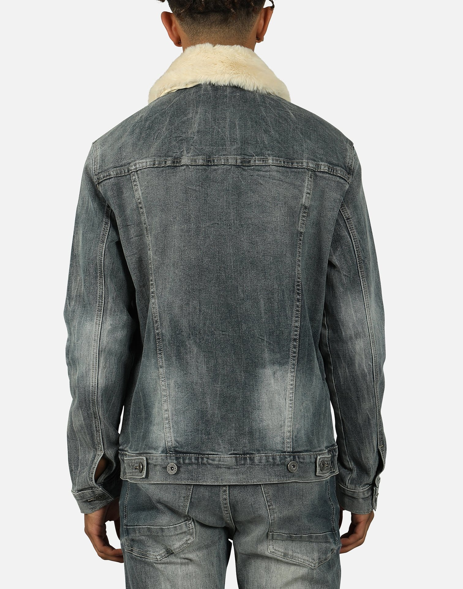 Smoke Rise Men's Fur Collar Denim Jacket