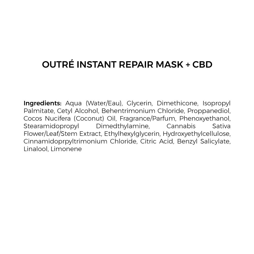 cbd instant hair repair mask ingredients list