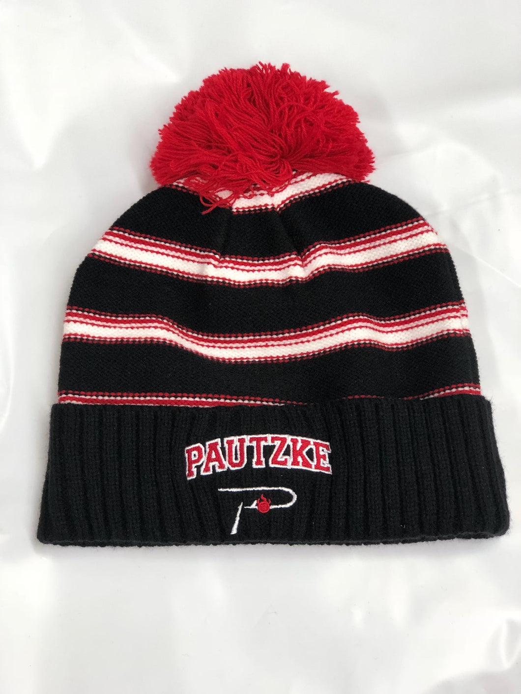 Pautzke 'P Hook' Black/Red Fleece Lined Beanie