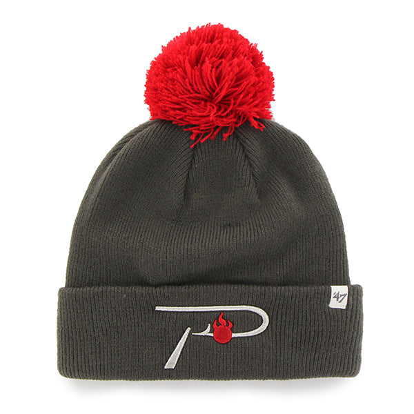 Pautzke Grey/Red Knit Beanie