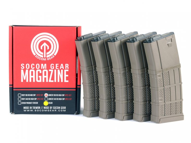 Socom Gear Lancer L5 AWM 190rnd Box Set of 5 Magazine