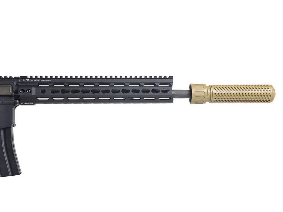 Knight's Armament Airsoft Fully Lic. KAC CQB Quick Detach Barrel Extension in Tan OEM by Madbull Airsoft - CCW