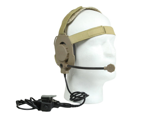Bravo Airsoft Headset #1 V2 TAN with PTT for 1 Pin Motorola