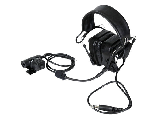 Bravo Airsoft Headset #8 in Black with PTT for Motorola 1 Pin