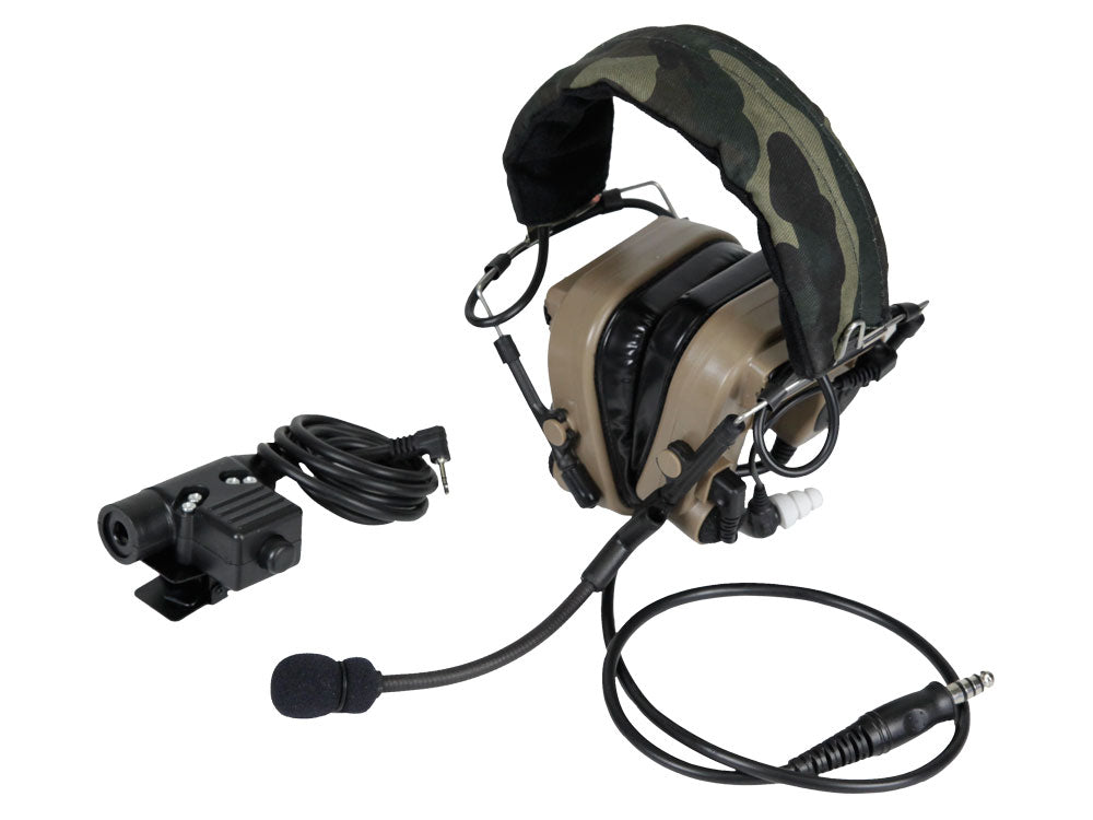 Bravo Airsoft Headset #9 in TAN with PTT for Motorola 1 Pin