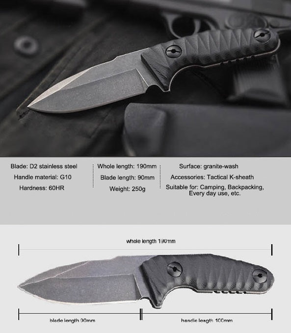 HX Outdoors Law Executor Tactical Knife w/ Kydex Sheath D125