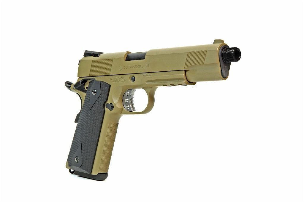 Socom Gear Full Metal M1911 Gas Blow Back Pistol in Tan (#USMCMEU)