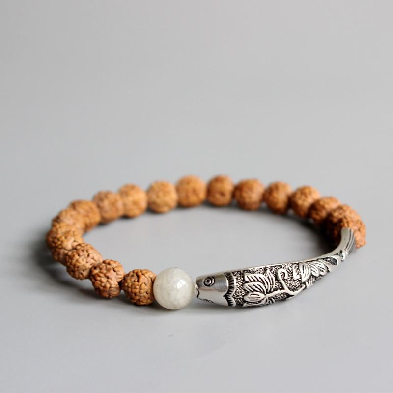 "Premium Tibetan Rudraksha Bracelet - ""Fish under the Moon"""