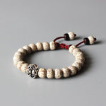 Adjustable Handmade Tibetan Bodhi Seed Bracelet - Natural Wood Beaded Braclet