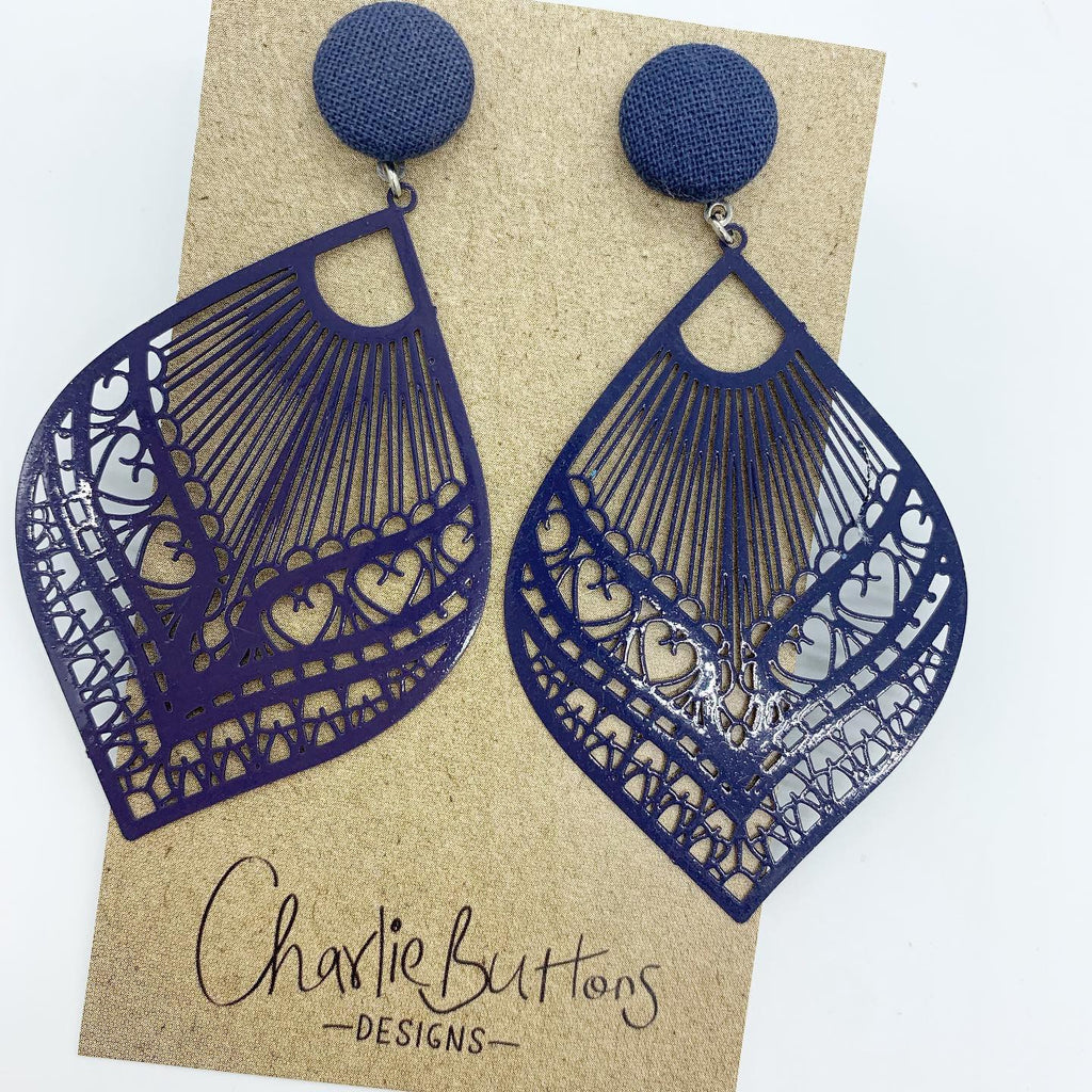 Navy Detailed Dangle Fabric Studs