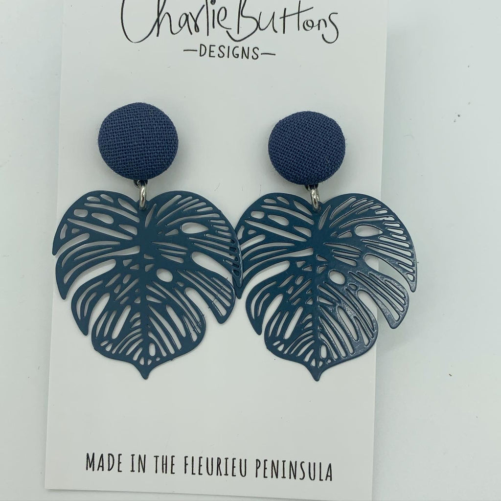 Monstera Detailed Dangle Fabric Studs Navy