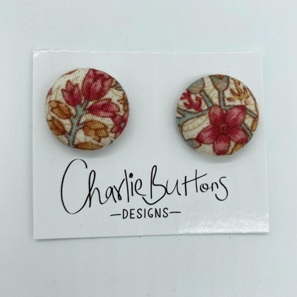 Floral Fabric Studs #40