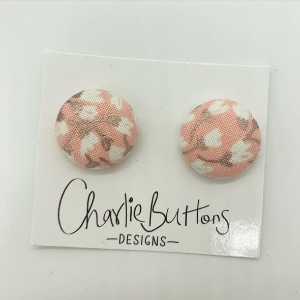 Floral Pink Rose Gold Fabric Studs #98