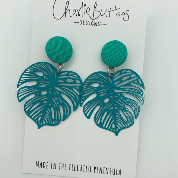 Monstera Detailed Dangle Fabric Studs Teal