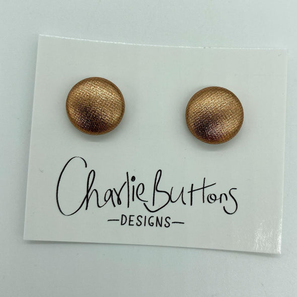 Rose Gold Shimmer Fabric Studs #39
