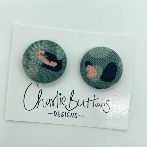 # Teal Leopard Fabric Studs