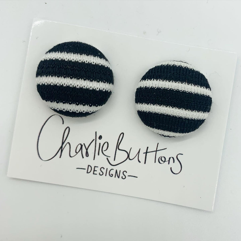 #Black White Fabric Studs #33