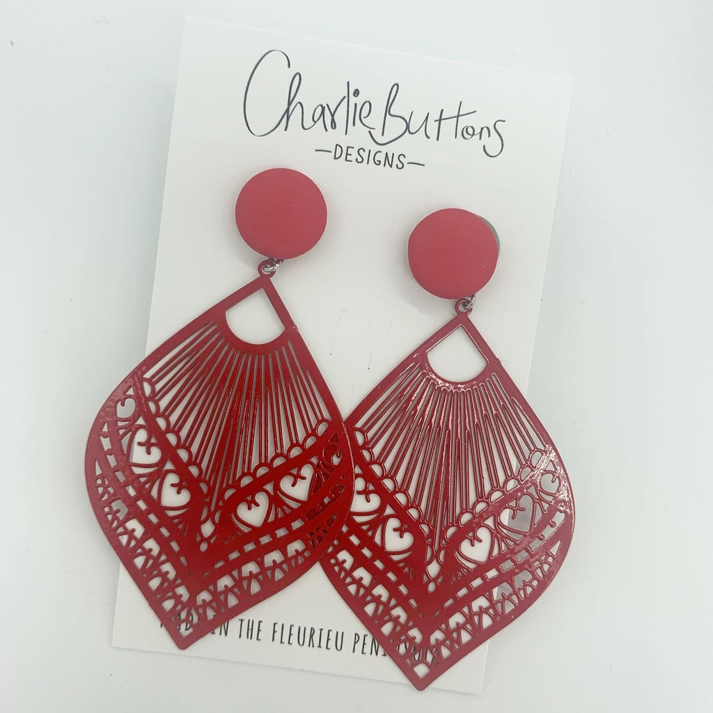 Red Detailed Dangle Fabric Studs
