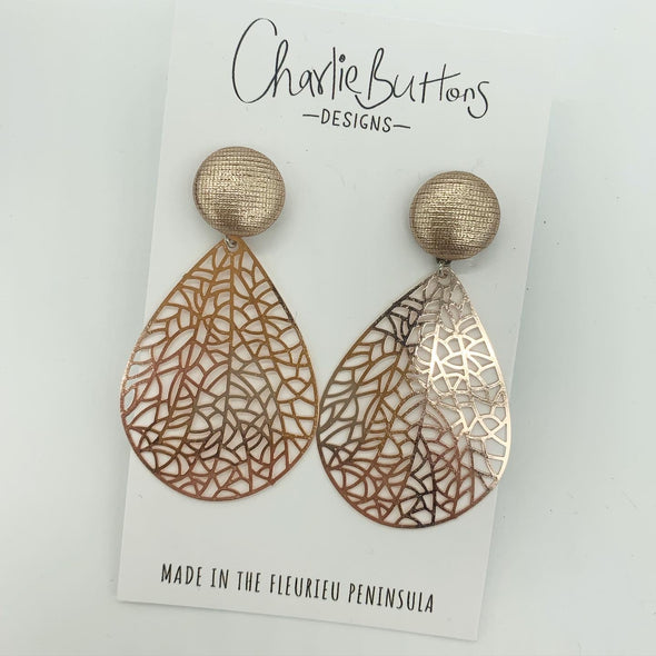 Rose Gold Detailed Dangle Fabric Studs