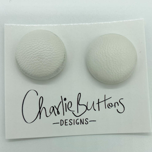 White Faux Leather Fabric Studs #42