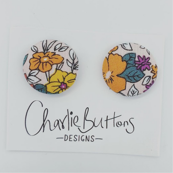 # Floral Fabric Studs #88