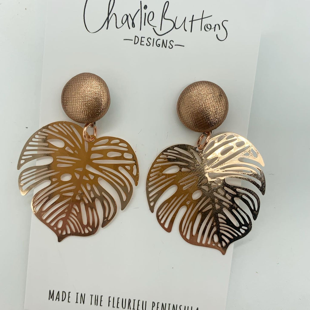 Monstera Detailed Dangle Fabric Studs Rose Gold