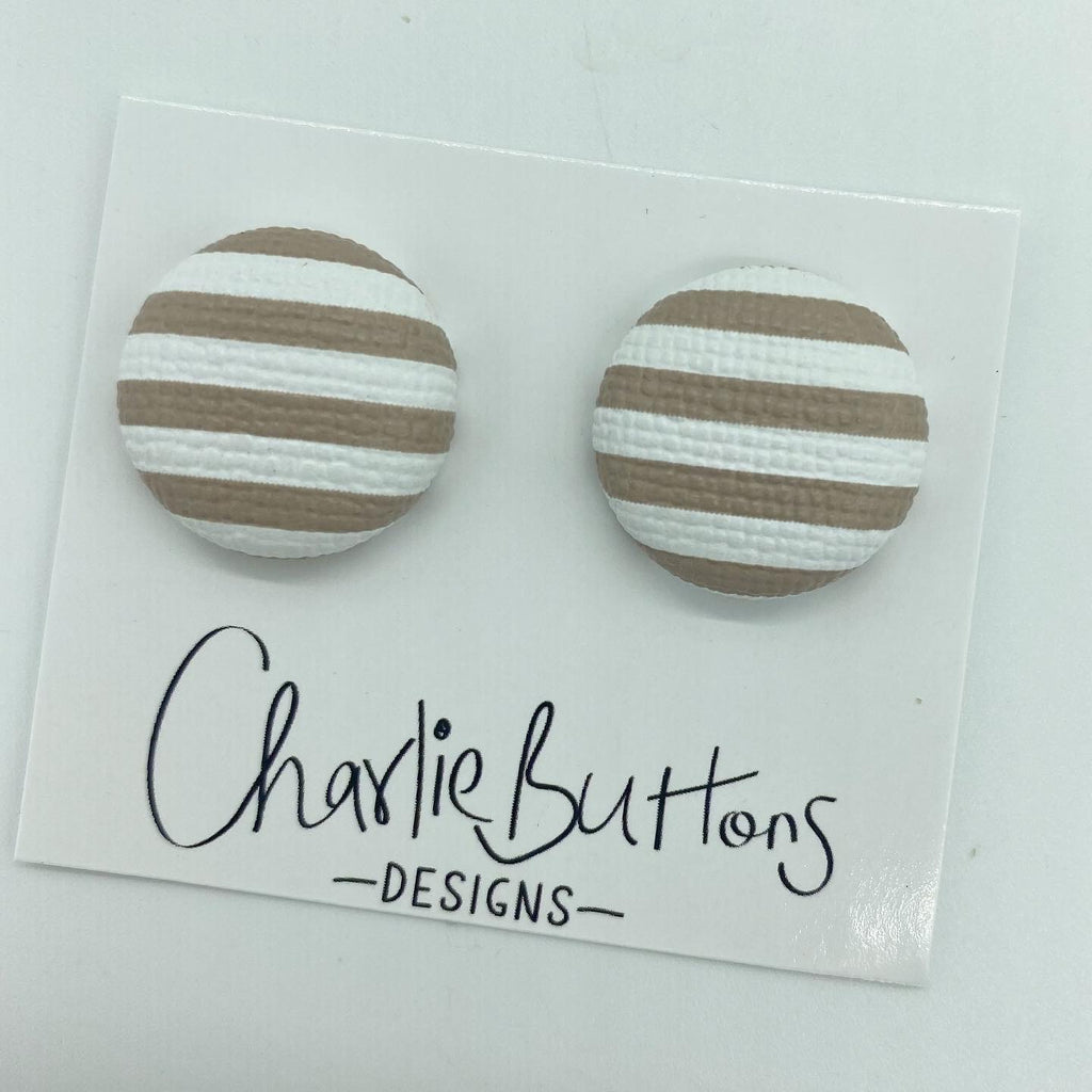 # Nude White Leather Stripe Studs