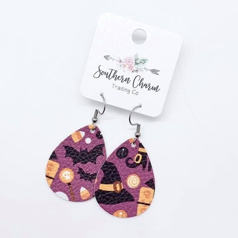 Halloween Leather Earrings