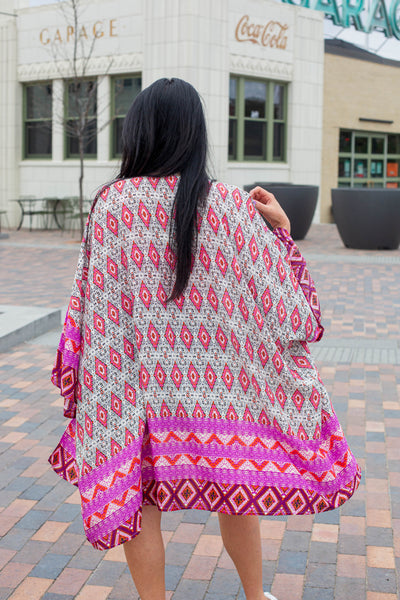 Mix of Purple Printed Long Kimono
