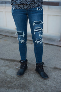Navy Blue Patched Destroy Skinny Jean