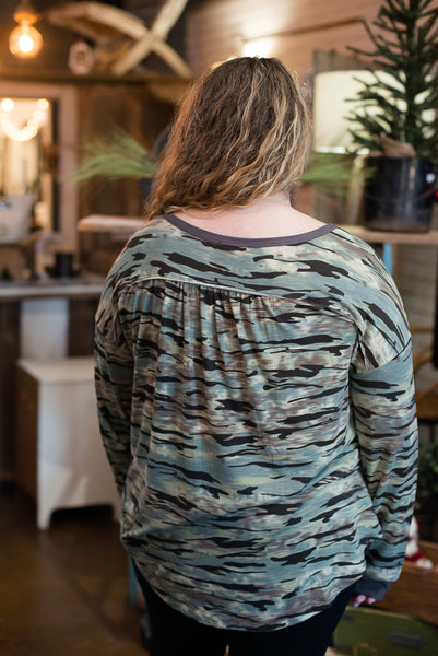 Teal Camo Long Sleeve Top
