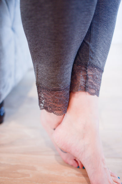 Gray Laced Bottom Capri Legging