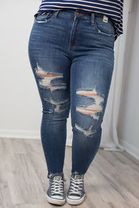 High Waist Destroyed Skinny Jean