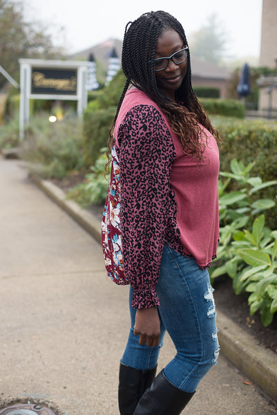 Floral and Animal Print Long Puff Sleeve