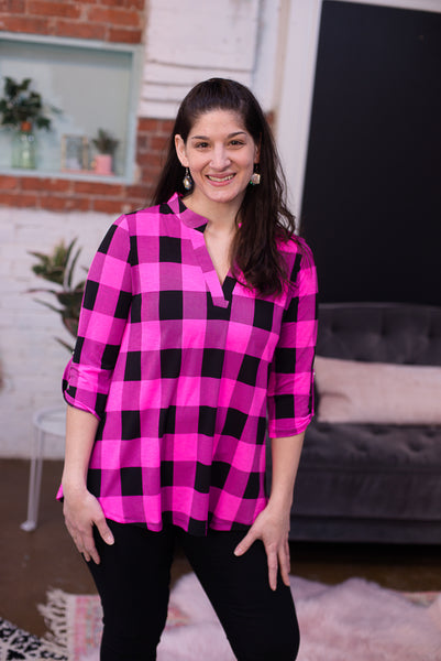 Hot Pink & Black Buffalo Plaid Top