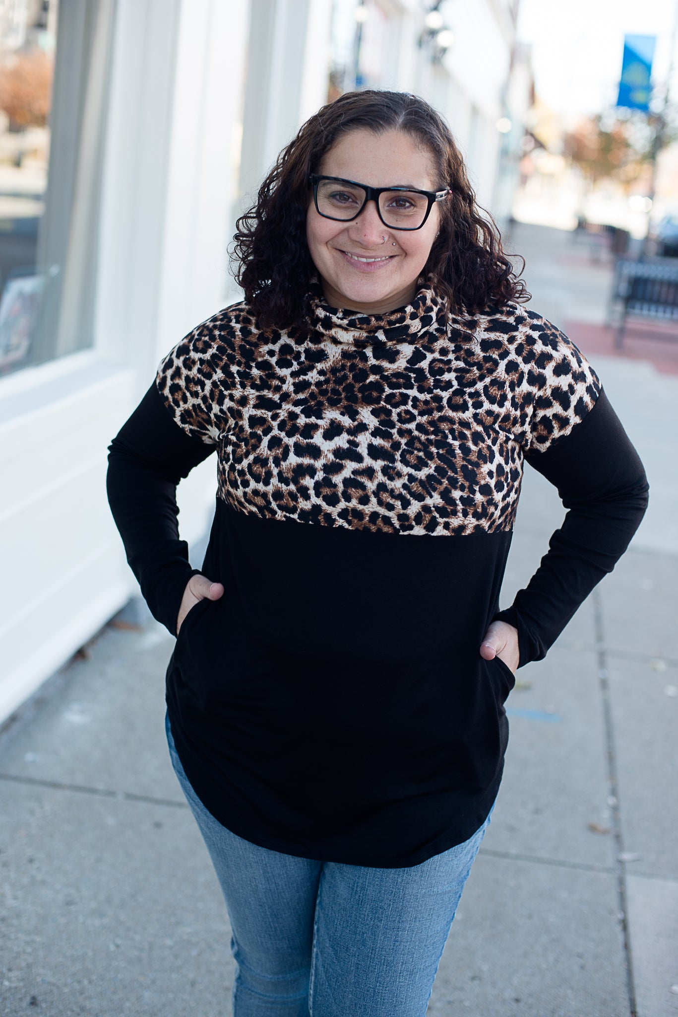 Cowl Neck Half Leopard and Black