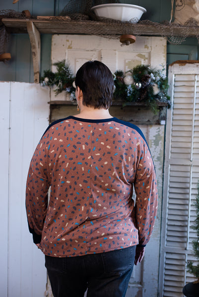 Rust/Navy Confetti Long Sleeve