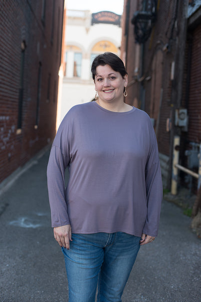 Purple/Taupe Loose Fit Knit Top