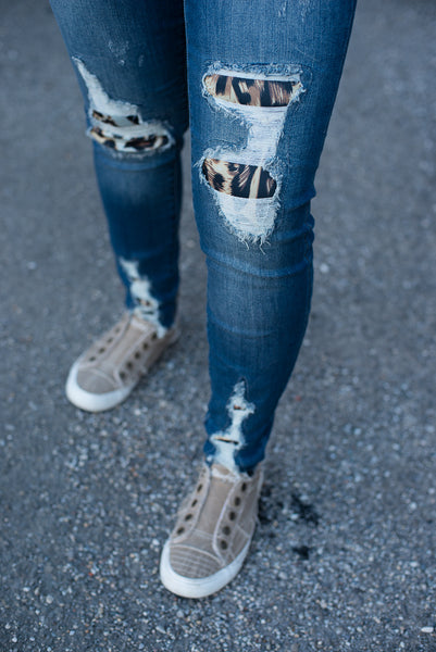 High Waist Leopard Patch Skinny Jean