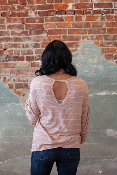 Mauve Striped Top with Puff Sleeve & Open back